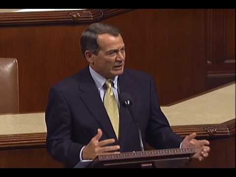House Minority leader John Boehner's closing argument against the health care reform bill