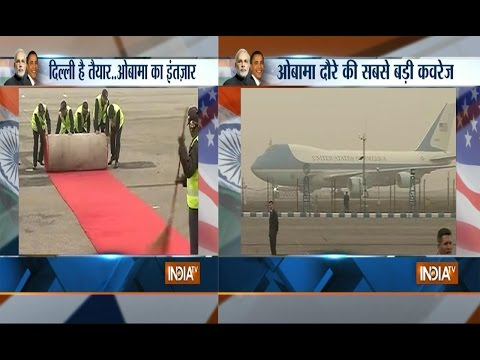 US President Barack Obama arrived in India at the Indira Gandhi International Airport in New Delhi