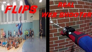 Spider-man visits school with real web shooters