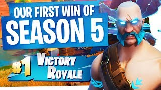 Our FIRST WIN of Season 5 Fortnite! - New Slow Mo Victory Royale Screen!
