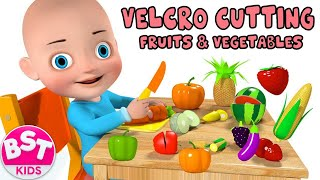 Learn Names & Colors of Fruits & Vegetables - Velcro toys Animation for Kids