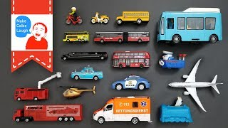 Learning Street Vehicles Names and Sounds for kids with tomica siku lego Cars and Trucks