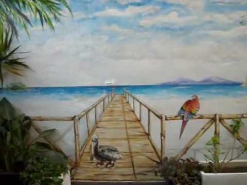 Mural pintado la playa en una terraza videomusical youtube - Murales pintados en la pared ...