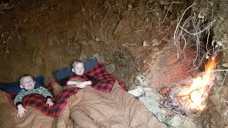 Winter Camping in Underground Bunker - Digging a Primitive Survival Stealth Shelter by Hand