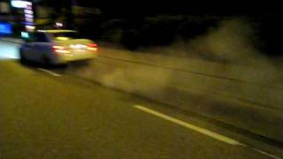 C63 AMG burnout wheelspin