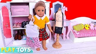 Baby Doll Evening Routine! Play American Girl Doll Back to School Dress up ! 🎀