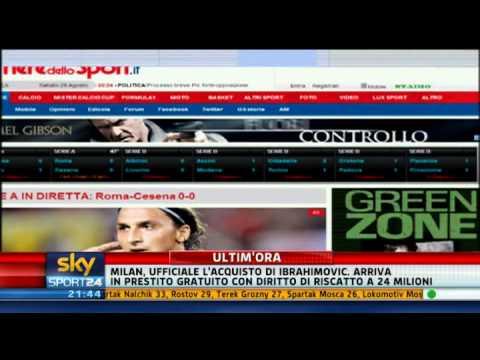 Zlatan Ibrahimovic al Milan - Sky Sport 24 - 28-08-2010 - Pt. 2