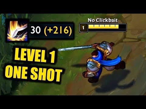 Garen Level 1 Insane Damage!! - ONE SHOTS in 1 SECOND