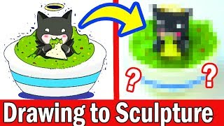 TURNING YOUR ART INTO SCULPTURE #5 Polymer Clay DIY CRAFT Art Challenge