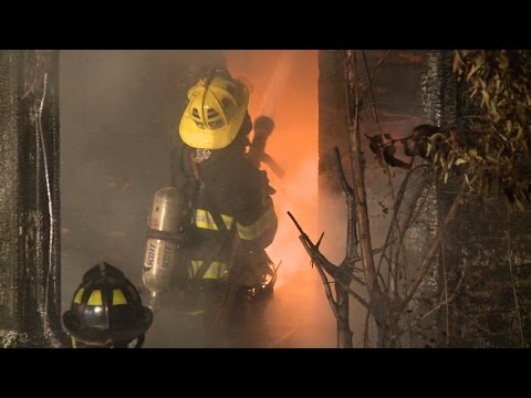 Raw video: Former firehouse burns in Pa.