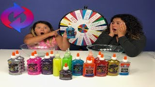 MYSTERY WHEEL OF SLIME SWITCH UP CHALLENGE - 6 COLORS OF GLUE SLIME CHALLENGE