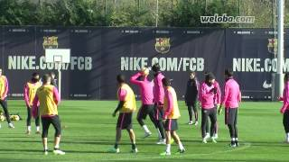 FCBarcelona training before receiving Espanyol