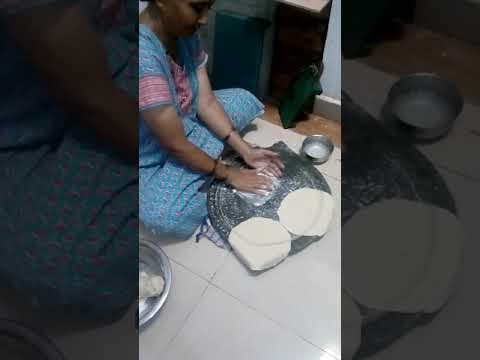Making of jowar roti by mom