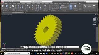 AutoCAD Aula 49 Engrenagem 3D  OFFSET CIRCLE FILLET TRIM 3D Modeling