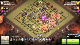 Clash of Clans Queen Walk LavaBall clear hall 10 max