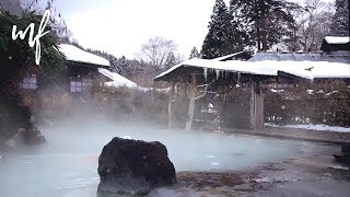 Japanese Onsen ASMR Ambience (during winter, so nice ice and snow sounds)