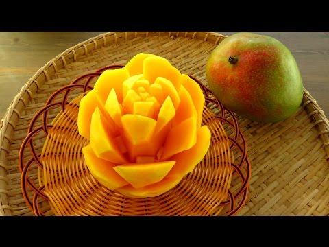 Art In Mango Rose Flower | Fruit Carving Garnish | Mango Art | Party Garnishing