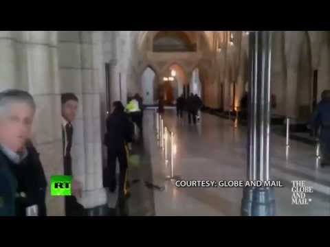 Ottawa shooting: Gunfire inside Canadian Parliament caught on tape