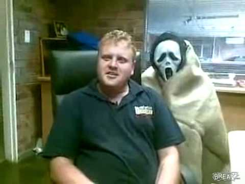 Big boy scared of the Scream mask:-) Cool prank