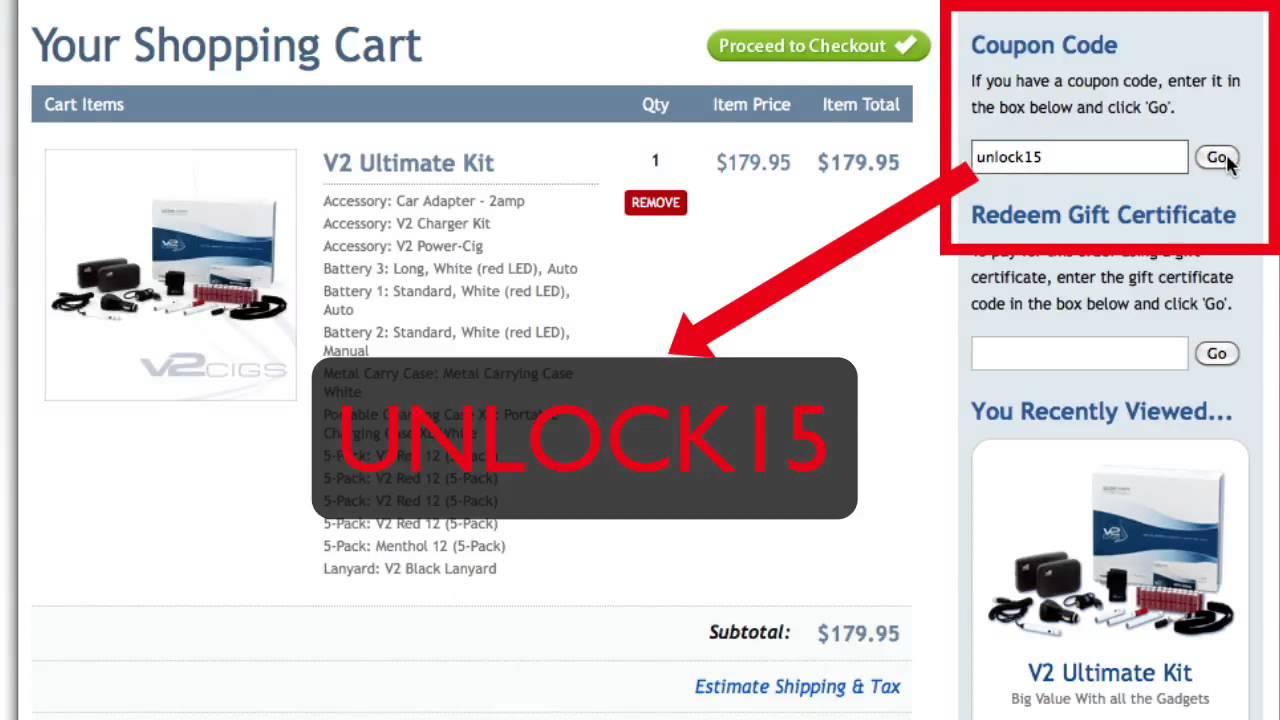 V2 cigs coupon code 15