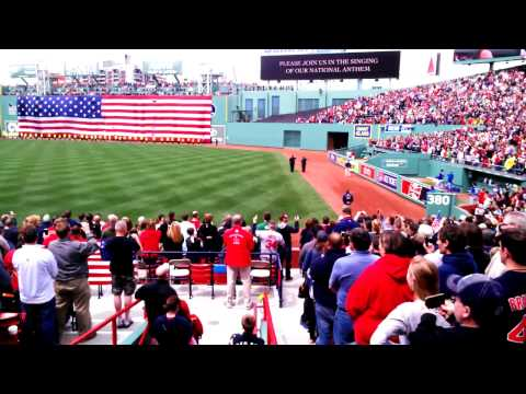 Boston Strong at Red Sox Game singing National Anthem 4/20/2013