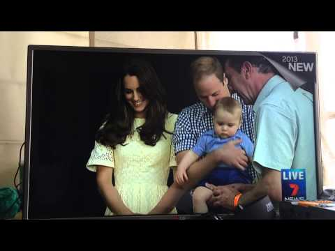 Prince William and Kate with Baby Prince George unveiling the plaque at Taronga Zoo