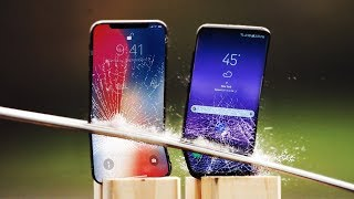 iPhone X vs Galaxy S8 Katana Scratch Test!