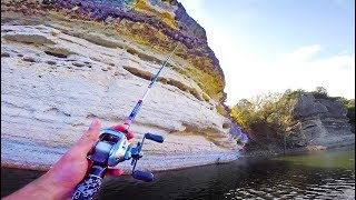 Fishing NEW LAKE --  GIANT Cliffs & Texas Bass