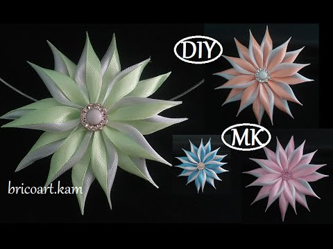 DIY/How to/Kanzashi flower Tutorial/Ribbon flower/Flor de cinta/MK/канзаши: bricoart.kam