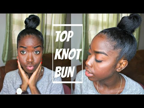 Natural Hair | Top Knot Bun Tutorial! (On Straight Hair)
