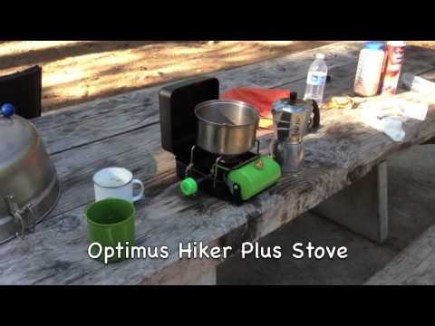 Camping Soda Springs. New Frontier fire pit, Latte's made with Bialetti stovetop & Optimus stove