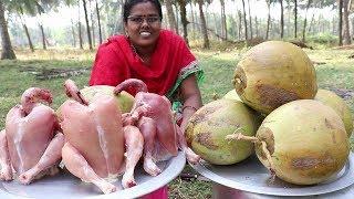 Marvelous || Tasty Tender Coconut Chicken Prepared in My Village || Food Money Food