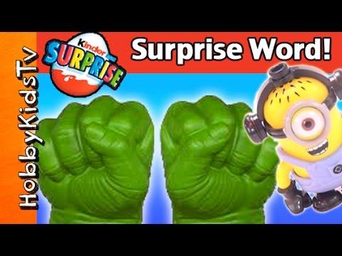 Tmnt Party Wagon Surprise Egg Word! Frozen Elsa Kinder Toy, Hulk, Mega Blocks Minion video