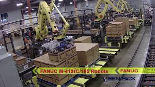 Robotic System Uses Three FANUC Palletizing Robots to Service Nine Production Lines - Sen-Pack