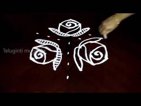 Easy rose flowers kolam designs with 7 - 4 middle | chukkala muggulu with dots| rangoli design