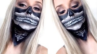 Skull Bandana Face Paint Tutorial ♡ Super Easy For Halloween