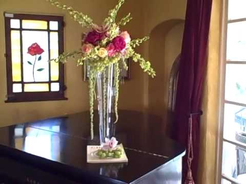 Impressive Fruit And Flowers Tall Wedding Centerpiece With Green Grapes