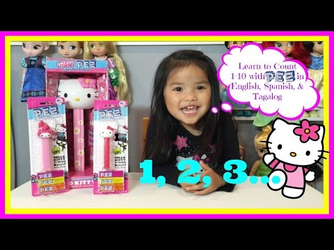 LEARN TO COUNT with WORLD'S BIGGEST GIANT HELLO KITTY PEZ DISPENSER in English, Spanish, & Tagalog