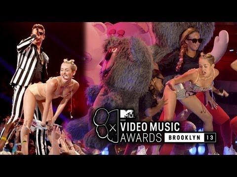 """Miley Cyrus Strips & Twerks For Robin Thicke's """"Blurred Lines"""" Performance at 2013 MTV VMAs"""