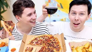 DAN AND PHIL MASSIVE PIZZA MUKBANG