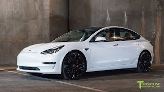 "Pearl White Tesla Model 3 Customized with a Special Interior Color and 20"" Staggered TST Wheels"