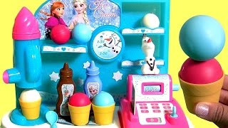Disney FROZEN Ice Cream Machine Factory Princess Anna & Elsa Cash Register Frozen Fábrica De Helados