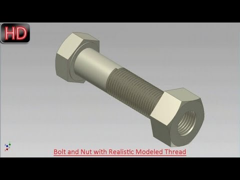 Bolt and Nut with Realistic Modeled Thread (Video Tutorial) Autodesk Inventor