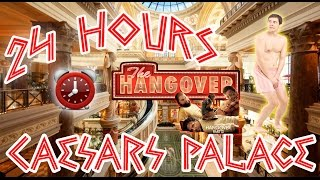 (THE HANGOVER!) 24 HOUR OVERNIGHT in CAESARS PALACE | OVERNIGHT CHALLENGE STREAKING IN THE HANGOVER