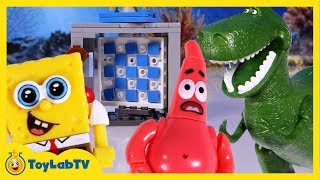 SpongeBob Sponge Out of Water Toys Mega Bloks Time Machine Dinosaur Chases Patrick & Sandy Movie
