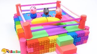 How To Make Kinetic Sand Boxing Ring For Peppa Pig Toys with Friends