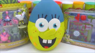 Giant Spongebob Movie Play Doh Surprise Egg Sponge Out Of Water Toys and Minecraft and more!