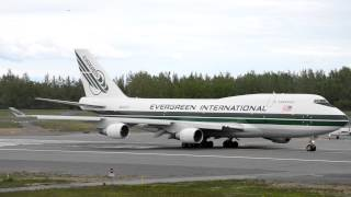 Evergreen International Airlines Boeing 747-400F [N493EV] holding and taking off from Anchorage