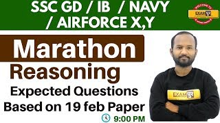 SSC GD/IB/AIRFORCE X,Y/NAVY     Expected Questions Reasoning     by pulkit sir