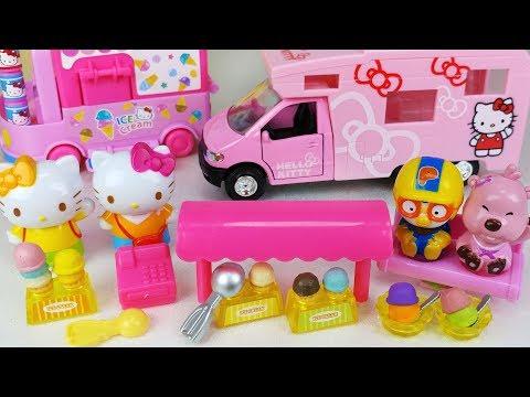 Hello Kitty mini Ice cream shop and baby doll car toys play 헬로키티 미니 아이스크림 가게와 아기인형 자동차 뽀로로 장난감놀이
